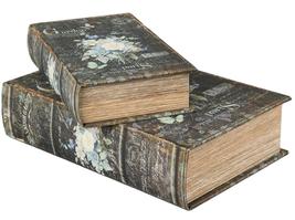 Bokask boklåda bokgömma gammal bok fransk vita rosor 2 storlekar shabby chic lantlig stil