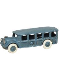 Blå lång skolbuss bil leksak i gjutjärn shabby chic lantlig stil