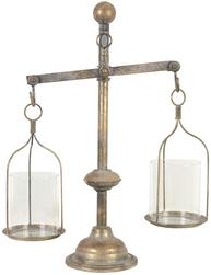 Våg med två skålar balansvåg antikmässing färgad shabby chic lantlig stil