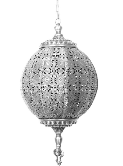 Rund antiksilverfärgad bollampa med genombrutet spetsmönster