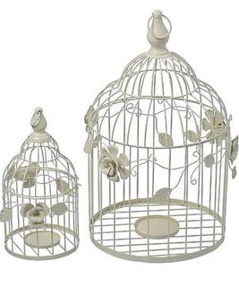 Vit fågelbur rosor vit shabby chic lantlig stil fransk lantstil