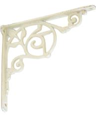 Konsoll gjutjärn vit antik-vit snirklig hyllbärare gjutjärnskonsoll shabby chic lantlig stil