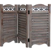 Fönsterluckor jalusi brun trä metalldekor shabby chic lantlig stil