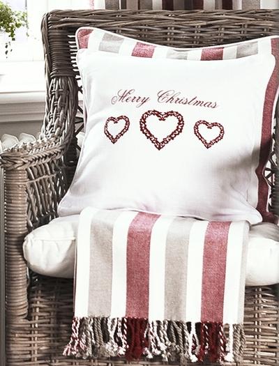 Kuddfodral Merry Christmas shabby chic lantlig jul
