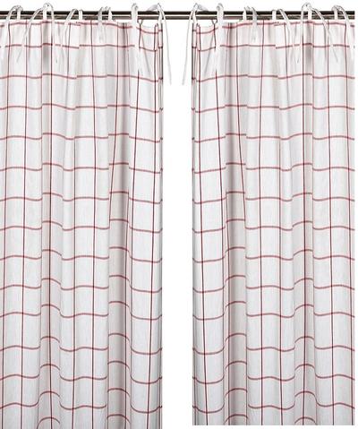2 st Knytbandslängder vit röd rutig shabby chic lantlig stil