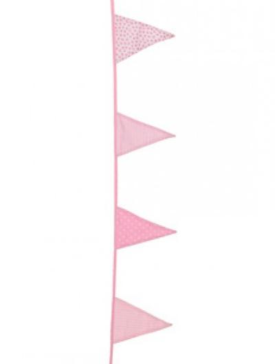 Vimplar vimpelslinga rosa 4,5 m 15 flaggor shabby chic lantlig stil