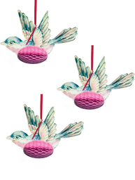 Fåglar 3set dekoration shabby chic lantlig stil
