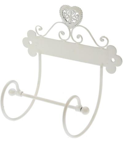 Toarullshållare vit smide shabby chic lantlig stil
