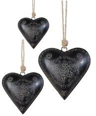 Hjärta svart präglat shabby chic lantlig stil