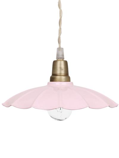Gammaldags taklampa rosa ljusrosa emalj plåt vågad tygsladd shabby chic lantlig stil