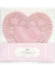 24 rosa vita hjärtan tårtpapper Amalie Greengate