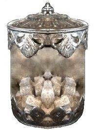 Gammaldags glasburk sirligt plåtlock metallkanter antik stil lantligt shabby chic lantstil