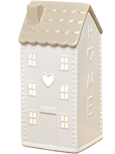 Ljushus stor huslykta vit porslin med elbelysning shabby chic lantlig stil