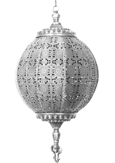 Stor rund antiksilverfärgad bollampa 35 cm med genombrutet spetsmönster