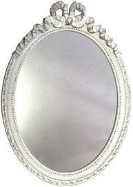 Gustaviansk vit antikvit spegel i trä med rosett shabby chic lantlig stil.