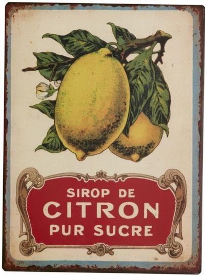 Gammaldags skylt plåtskylt reklamskylt citron citrus shabby chic lantlig stil