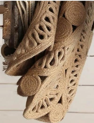 Rund matta jute handknuten blomformad shabby chic lantlig stil