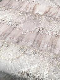 Tyg metervara Vintage Pearls Van Asch tryckt
