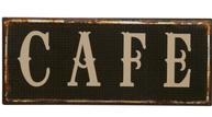 Plåtskylt skylt Cafe mörk shabby chic lantlig stil