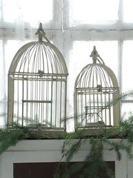 Fågelbur antikvit Jeanne darc Living 2 storlekar 41/51cm