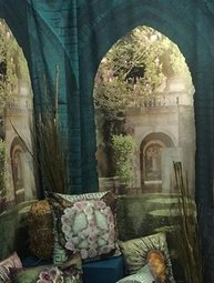 Stor fondvägg i tyg fotoprint antik portal romantisk trädgård shabby chic lantlig stil
