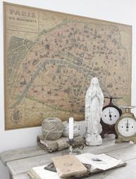 Old Map karta Paris världskarta Hispanica olika storlekar replica gammaldags stor karta shabby chic lantlig stil