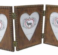 Ram antik stil trä hjärta pärlkant tredelad shabby chic lantlig stil