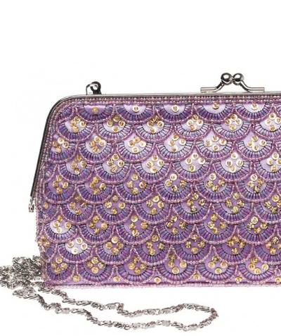 Aftonväska väska romantisk lavendel pärlbroderi shabby chic