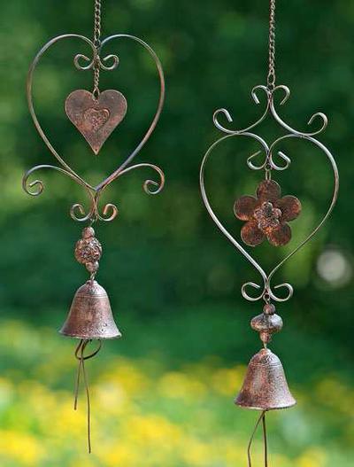 Hjärta hänge vindspel klocka rostbrun shabby chic lantlig stil