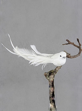 Vit fågel på clip klämma shabby chic lantlig stil