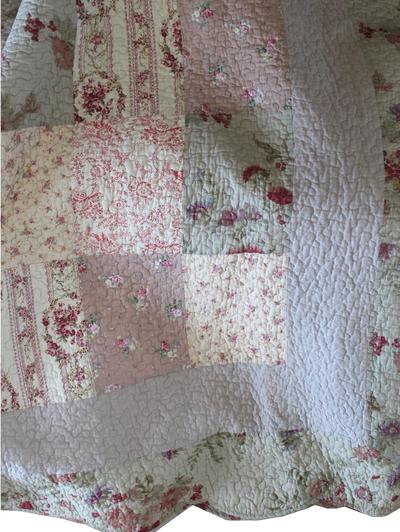 Överkast Vintage Rosor dubbelsäng beige rosa shabby chic lantlig stil