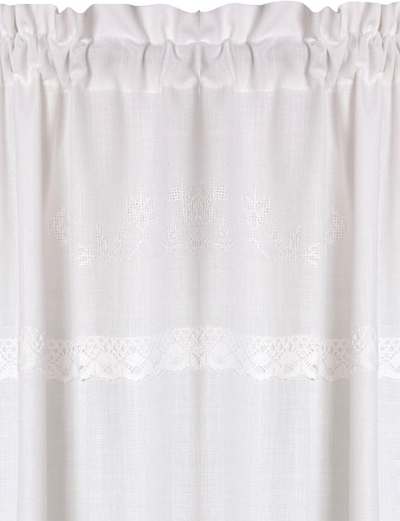 Gardinlängder vit broderade vita rosor korsstygn spets shabby chic lantlig stil