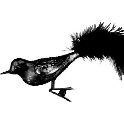 Antiksilver Glasfågel med klämma