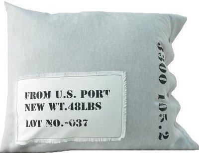 US PORT grått kuddfodral industristil shabby chic lantlig stil