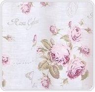 Kuddfodral vit med rosa rosor fjärilar shabby chic lantlig stil
