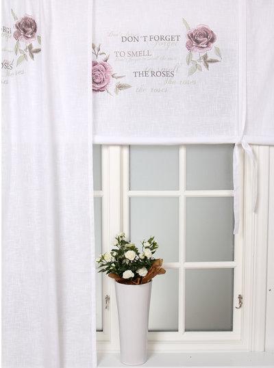 Hissgardin vit med rosa rosor shabby chic, lantlig stil