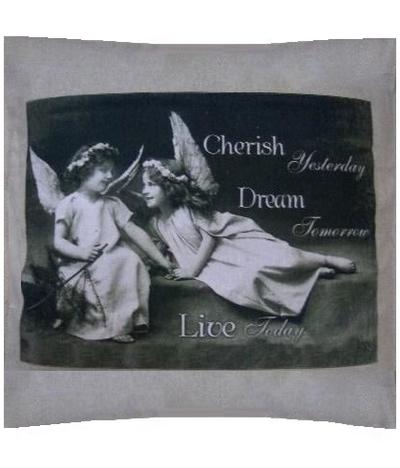 Kuddfodral Vintage motiv Änglar Cherish Dream Live shabby chic lantlig stil