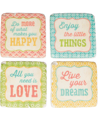 Underlägg glasunderlägg orient pastell  Happy Enjoy Love Dreams 4 set shabby chic lantlig stil