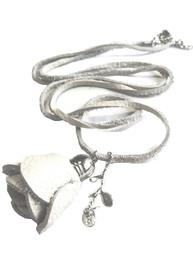 Halsband vit läder ros ziz design läderhalsband