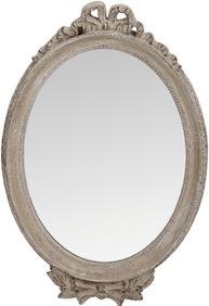 Spegel med rosett i antikvitt trä shabby chic lantlig stil