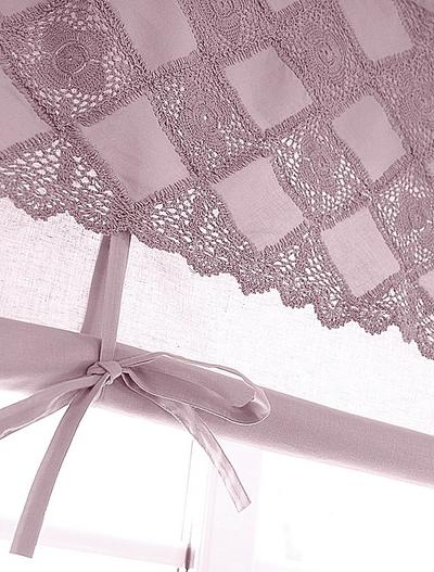 Hissgardin rosa dimrosa spets och band att knyta 100-140cm