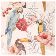 Servetter Rosa blommor fåglar romantisk  fransk lantstil shabby chic lantlig stil