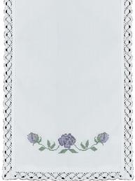 Vit löpare spets broderade blå rosor korsstygn shabby chic lantlig stil