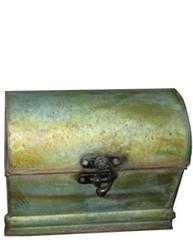 Liten kista koffert antikbehandlad zink plåt shabby chic lantlig stil