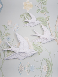 3 set vita fåglar i porslin väggdekoration shabby chic lantlig stil