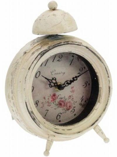 Gammaldags klocka väckarklocka rosor antikvit vit shabby chic lantlig stil