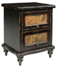 Byrå sängbord fransk svart antik stil fjärilar shabby chic