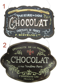 Skylt reklamskylt Fransk Choklad shabby chic lantlig stil