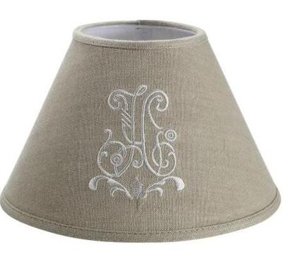 Lampskärm Linne broderat monogram