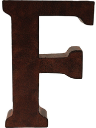 F stor plåtbokstav rostbrun färg industristil